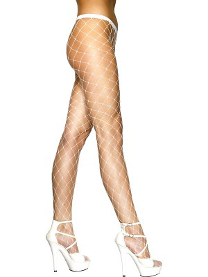 White Diamond Net Tights