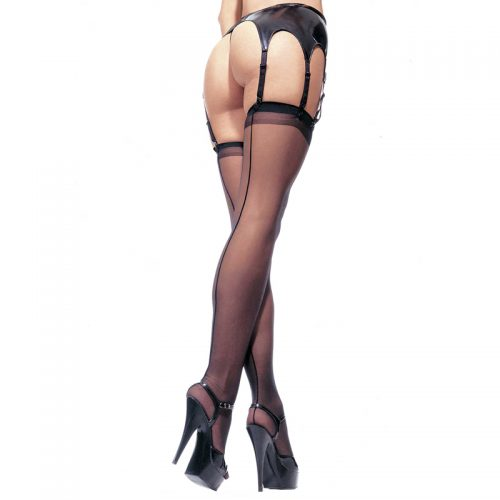 Leg Avenue Sheer Stockings Black UK 8 to 14