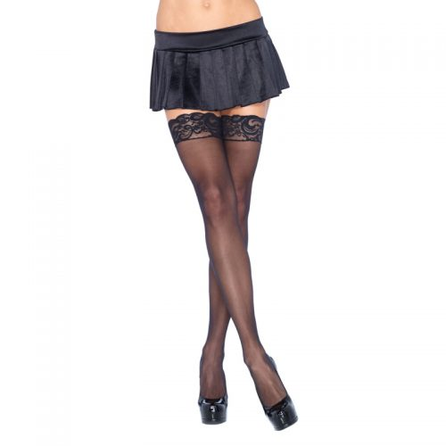 Leg Avenue Plus Size Sheer Thigh Highs Black UK 16 to 18