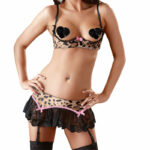 Cottelli Collection Leopard And Pink Half Bra And Skirt Set