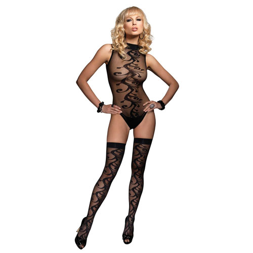 Leg Avenue 2 Piece Jacquard Body With Stockings UK 8 to 14