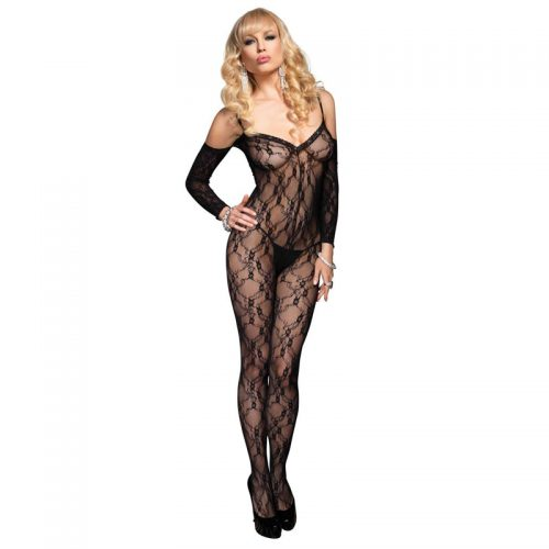 Leg Avenue Floral Lace Bodystocking With Sleeves UK 8 to 14