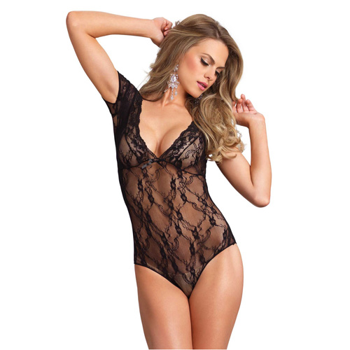 Leg Avenue Floral Lace Backless DeepV Teddy Black UK 8 to 14