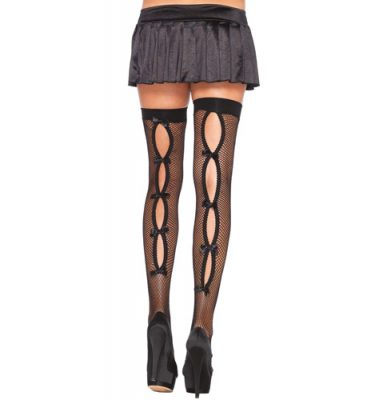 Leg Avenue Keyhole Backseam Thigh Highs UK 8 to 14