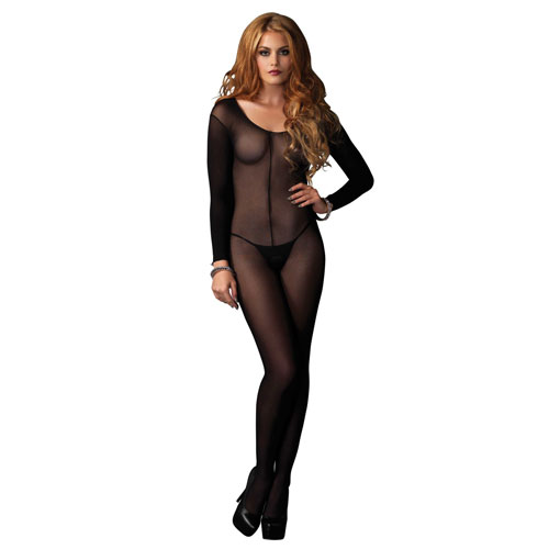 Leg Avenue Sheer Scoop Neck Bodystocking UK 8 to 14
