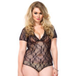Leg Avenue Floral Lace Backless DeepV Teddy Black Plus Size