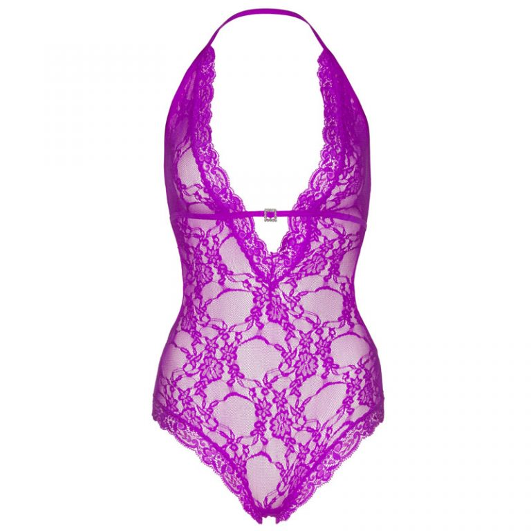 Leg Avenue Lace Deep V Halter Teddy Purple UK 16 to 18