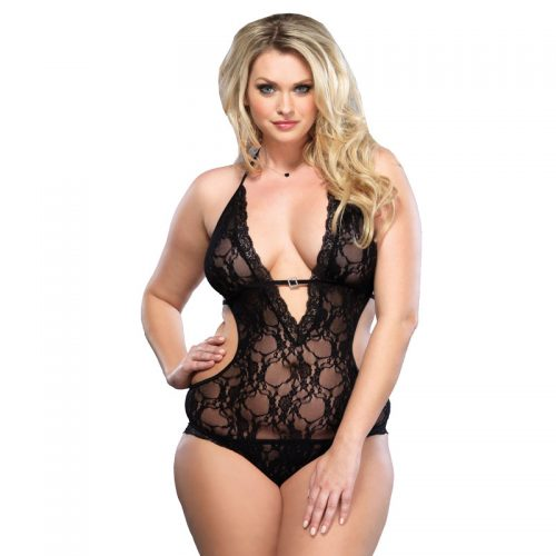 Leg Avenue Lace Deep V Halter Teddy UK 16 to 18