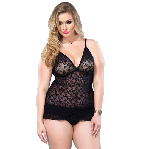 Leg Avenue Lace DeepV Halter Teddy UK 16 to 18