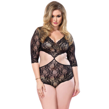 Leg Avenue Cut Out Floral Lace Teddy UK 16 to 18