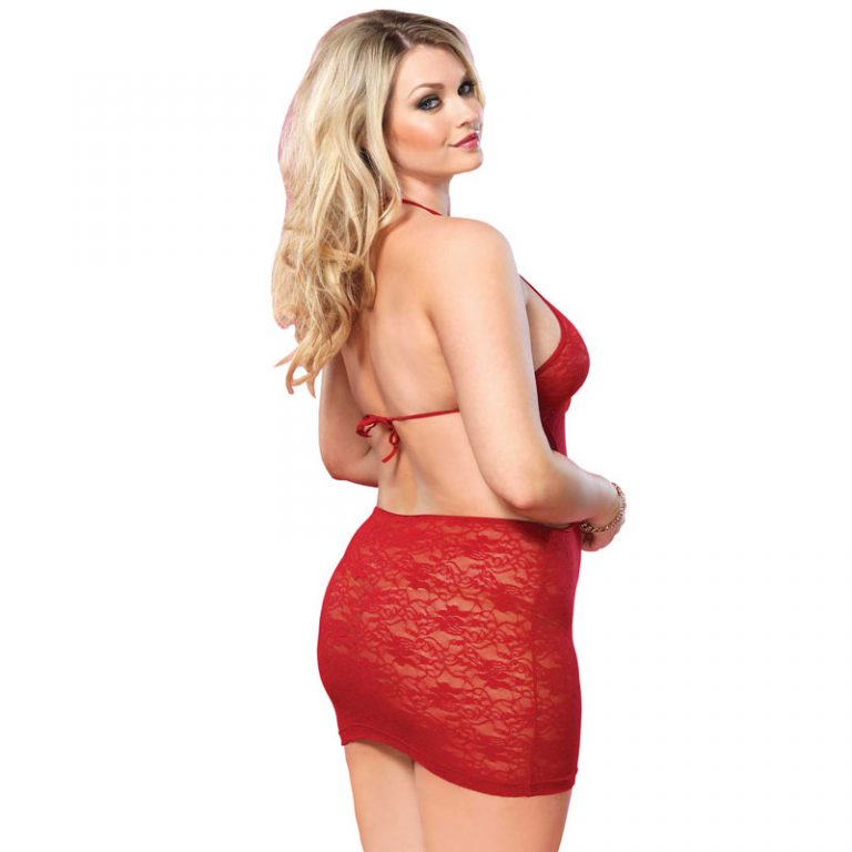 Leg Avenue Open Back Lace Mini Dress Red UK 16 to 18