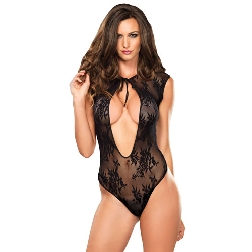 Leg Avenue Stretch Lace GString Teddy UK 8 to 14