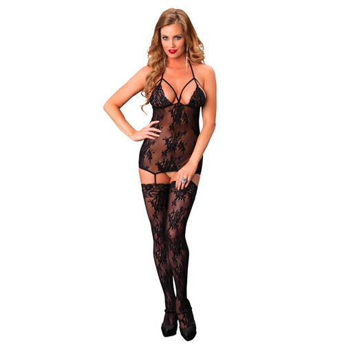 Leg Avenue Lace Suspender Bodystocking Black UK 8 to 14