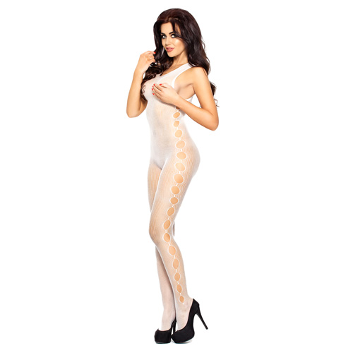 Passion Open Side Seam Body Stocking White