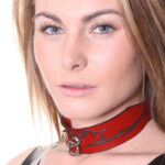 House Of Eros Lace Up Red Leather Tribal Collar Wide
