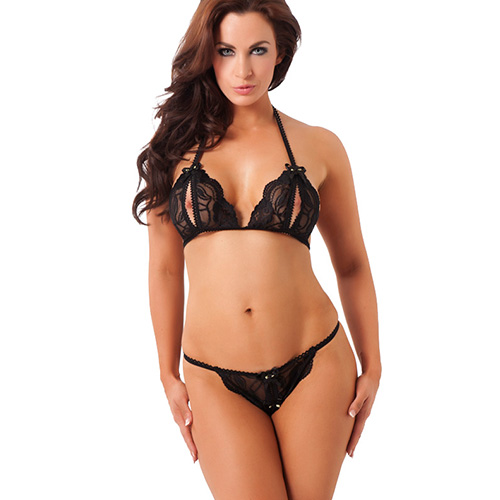 Black Lace Halter Neck Open Cup Bra And Thong