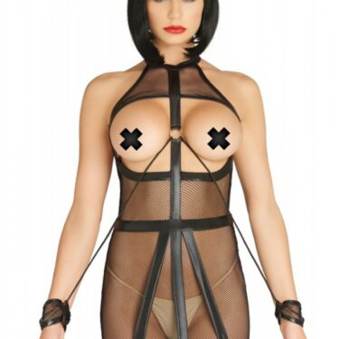 Leg Avenue KINK Wet Look Fishnet Open Bondage Dress