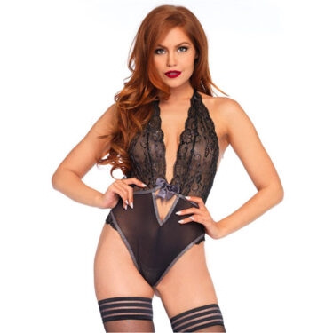 Leg Avenue Lurex Lace Halter Teddy UK 8 to 14