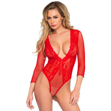 Leg Avenue High Cut Deep V Lace And Net Thong Back Teddy