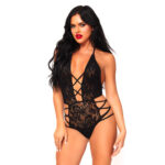 Leg Avenue Strappy Halter Lace Teddy UK 8 to 14